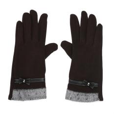 Sale Women Touch Screen Mittens Sheep Wool Winter Bowknot Glove Brown Intl China Cheap