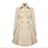 Review Women Trench Coat Long Coats Female Slim Autumn Winter Button Outwear Windbreaker Plus Size Ladies Clothing Wc0319 Beige Intl Not Specified On China