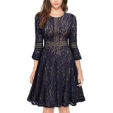 Cheapest Women Tunic Lace Dress Robe Casual 3 4 Sleeves Swing Dresses Navy Blue Intl