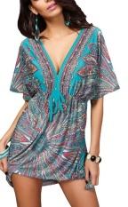 Top 10 Women V Neck Backless Summer Beach Short Sleeve Cover Dress Green Intl