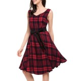 Price Comparisons For Women V Neck Plaid Big Swing Dress With Belt Fashion Casual Style Vintage Dress Party Dress Intl