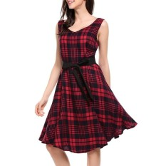 Compare Women V Neck Plaid Big Swing Dress With Belt Fashion Casual Style Vintage Dress Party Dress Intl Prices