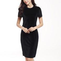 Cheap Women Velvet Sheath Dress Elegant Pencil Midi Dress Black Intl Online