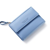Discounted Women Wallet Pu Leather Mini Coin Purses Small Zipper Short Wallets Id Credit Card Holders Fashion Cute Girls Purse Blue Intl