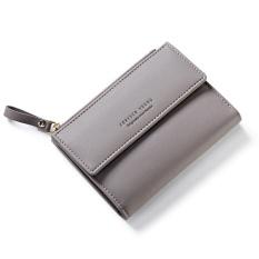 Women Wallet Pu Leather Mini Coin Purses Small Zipper Short Wallets Id Credit Card Holders Fashion Cute Girls Purse Grey Intl Review