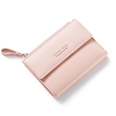 Compare Prices For Women Wallet Pu Leather Mini Coin Purses Small Zipper Short Wallets Id Credit Card Holders Fashion Cute Girls Purse Pink Intl