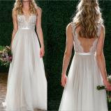 Low Cost Women Wedding Lace Deep V White Dress Halter Backless Skirt