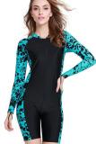 Women Wetsuit Short Sleeve Diving Snorkeling Wet Suit Summer Surfing Rashguard Swimwear Scuba Swimsuit Blue Coupon