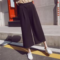 Where To Buy Women Wide Leg Pant Loose Harem Trousers Elastic High Waist Straight Ladies Cropped Pant Black Intl