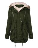 Review Women Winter Fleece Coat Hooded Faux Fur Trench Coat Jacket Parka Coat Army Green Intl China
