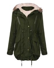 Get Cheap Women Winter Fleece Coat Hooded Faux Fur Trench Coat Jacket Parka Coat Army Green Intl