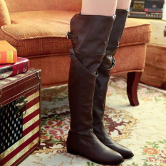 Women Winter Over Knee Thigh High Long Boots Leather Buckle Biker Riding Shoes Brown Intl Promo Code