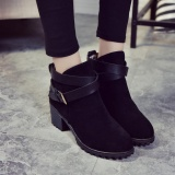 Compare Price Women Winter Snow Ladies Low Heel Ankle Belt Buckle Martin Boots Shoes Intl Oem On China