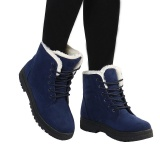 Cheap Women Winter Warm Boots Flat Lace Up Faux Fur Lined Casual Snow Ankle Boot Shoes Blue Intl