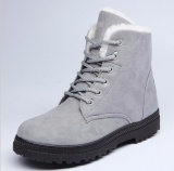 How Do I Get Women Winter Warm Boots Flat Lace Up Faux Fur Lined Casual Snow Ankle Boot Shoes Grey Intl