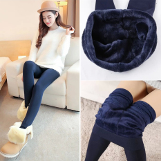 Best Rated Women Winter Warm Fleece Lined Tights Pants Thermal Stretchy Leggings Navy Blue Intl