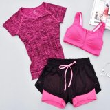How Do I Get Women Yoga Set Solid Short Sleeved T Shirt Zipper Pad Bra Hollow Out Shorts 3Pcs Suit Quick Dry Sport Running Traning Set Hot Pink Intl