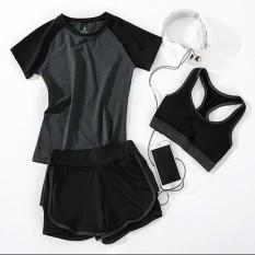 Price Compare Women Yoga Sport 3Pcs Suit Fitness T Shirt Pad Bra Short Sport Exercises Sets Grey Intl