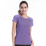 Price Women Yoga Sports Running T Shirt Tee Dry Fit Gym Workout Exercise Tops Short Sleeve Wicking Purple Intl Oem Original