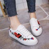 Buy Cheap Women S Fashion Sneakers Plate Shoes Flower Embroidery Running Casual Girls Students Autumn Korean Color White Intl