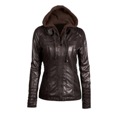 Who Sells Women S Faux Leather Hooded Jacket Zippered Hoodie Short Slim Motorcycle Jacket Coat Coffee Intl The Cheapest