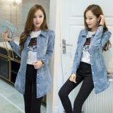 Best Women S Korean Slim Fit Medium Long Denim Coat Jeans Jacket Ladies Girls Classical Denim Windbreaker Coat Light Blue Intl