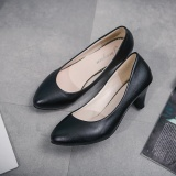 Top Rated Women S Leather Med Heels New High Quality Shoes Classic Matte Black Matte Black Pumps Shoes For Office Ladies Shoes Matte Black Intl