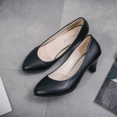 Buy Women S Leather Med Heels New High Quality Shoes Classic Matte Black Matte Black Pumps Shoes For Office Ladies Shoes Matte Black Intl Oem Cheap
