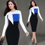 Sale Women S Long Sleeve Round Neck Fashion S*Xy Package Buttocks Midi Dresses Intl Laweisi On China