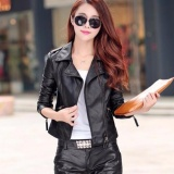 Women S Motorcycle Leather Jacket Fashion Slim Pu Short Paragraph Casual Lady G*rl Turn Down Collar Long Sleeve Outerwear Coat Black Intl On China