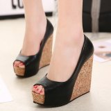 Retail Women S Peep Toe Wedge Shoes Leisure Party High Heels Black
