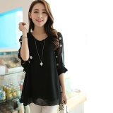 Price Women S Plus Size Korean Large Size Chiffon Shirt Fat Mm Summer Loose Bat Sleeve V Collar Chiffon Shirt Intl On China