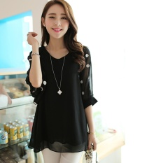 Buying Women S Plus Size Korean Large Size Chiffon Shirt Fat Mm Summer Loose Bat Sleeve V Collar Chiffon Shirt Intl