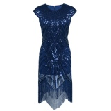 Compare Price Women S Sequin Beaded Tassels Hem Flapper Dresses Sleeveless Silver Thread Embroidery Fringe Great Gatsby Party Dress(Blue) Intl Oem On China