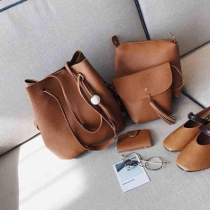 How To Get Women S Set Of 4 Pu Leather Fashion Handbag Lady Shoulder Bag Totes Purse Intl