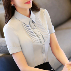 Women S Short Sleeved Summer Plus Sized Slim Fit Work Clothes White Shirt Blue On Line