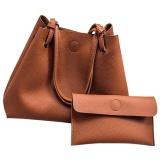 New Women S Tote Large Capacity Shoulder Bag Handbag With Clutch Wallet (Brown) Intl