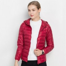 New Women S 18 Colors New Lightweight Down Jacket Breathable Ladies Hooded Short Large Size Authentic Korean Dark Red Intl