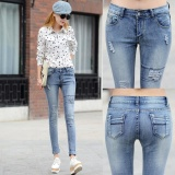 Review Womens Bleach Ripped Jeans Skinny Jeans Denim Jeans For Female Women Cotton Denim Stretch Pants (Light Blue) Intl China