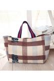 Womens Canvas Plaid Pattern Tote Shoulder Shopping Bag Intl Cheap