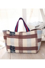 Womens Canvas Plaid Pattern Tote Shoulder Shopping Bag Intl Price Comparison