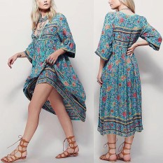 Where To Buy Womens Casual Boho Beach Floral Long Sleeves Loose Maxi Dress Tie V Neck Skirts Intl