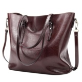 Best Buy Women S Casual Handbag High Capacity Oil Wax Pu Leather Shoulder Bag Waterproof Totes Color Dark Red