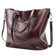 Buy Women S Casual Handbag High Capacity Oil Wax Pu Leather Shoulder Bag Waterproof Totes Color Dark Red Cheap China