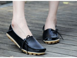 Buy Women S Casual Leather Lace Up Flat Shoes Black Telent Cheap