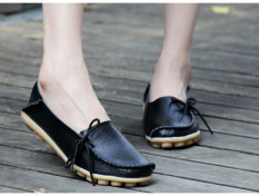 Women S Casual Leather Lace Up Flat Shoes Black Shopping