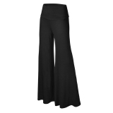 Best Womens Comfy Chic Boho Palazzo Gaucho Lounge Pant Black