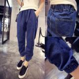Best Offer Women S Cotton Denim Elastic Waist Jeans G*rl S Harem Pant Ankle Length Loose Trouser