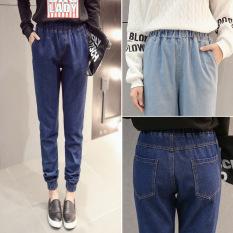 Who Sells Women S Cotton Denim Elastic Waist Jeans G*Rl S Harem Pant Ankle Length Loose Trouser Intl Cheap