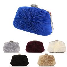 Price Womens Elegant Crystal Ruched Evening Party Clutch Purse Handbag Shoulder Bag Blue Intl Oem Original